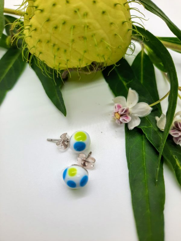 Dots - turquoise and lime on white post earrings