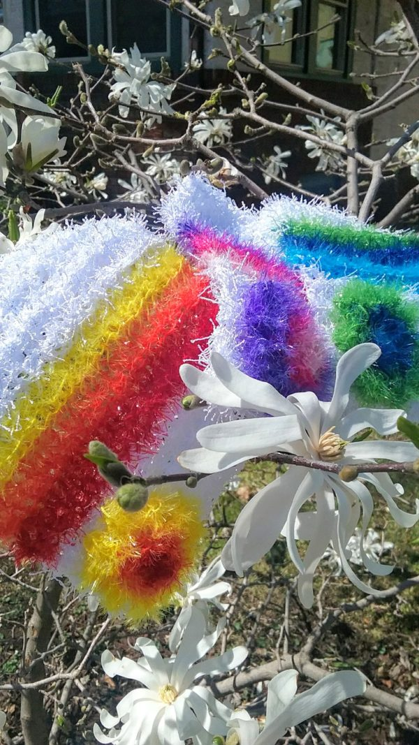 White with rainbows dishcloths-solid