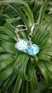 White with turquoise dots glass beads earrings