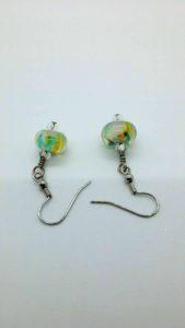 White yellow blue green glass bead earrings