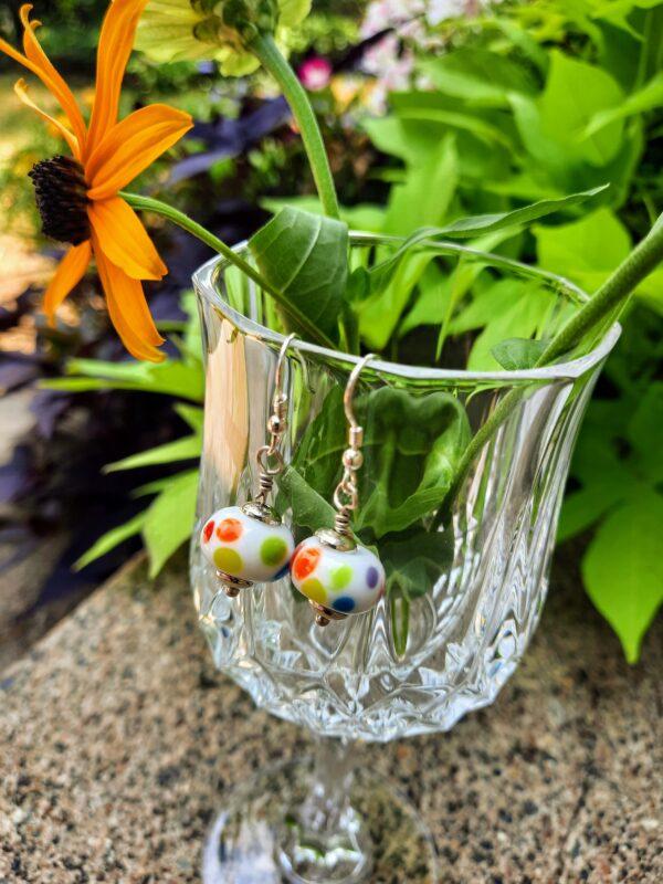 White with rainbow dots - dangle earrings