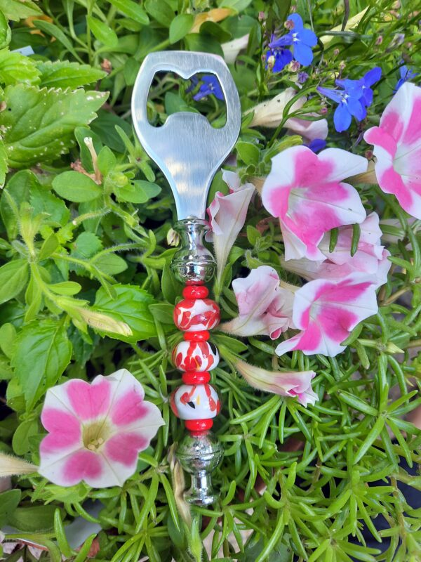White with red bottle opener