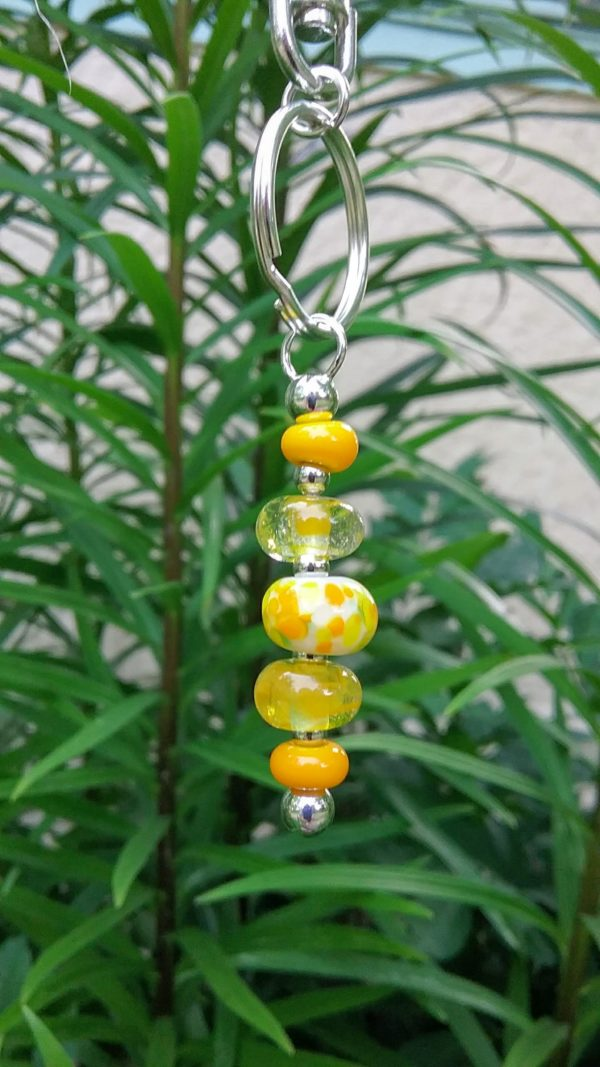 Yellow 5 bead keychain