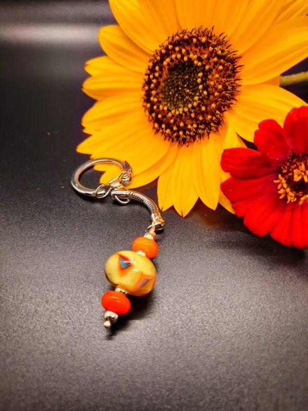Yellow and orange 3 bead keychain