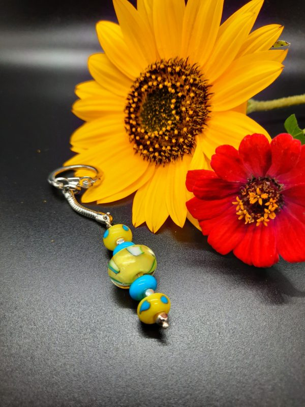 Yellow and turquoise 5 bead keychain