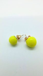 Yellow glass post/stud earrings