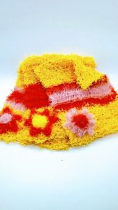 Yellow with light pink and orange striped dishcloths-solid