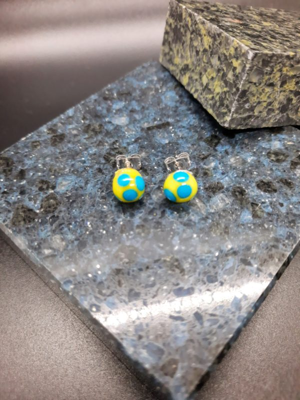 Yellow with turquoise dots post earrings