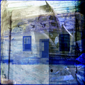 compilation photographic image of an abandoned house with lots of blue and gold tones
