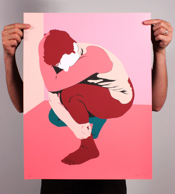 Screenprint of a man crouched in shades of pink