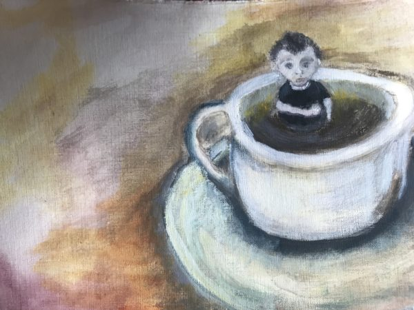Coffee boy in cup