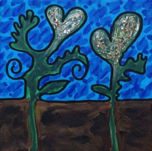 abstract landscape acrylic painting of green trees, brown dirt, and blue sky