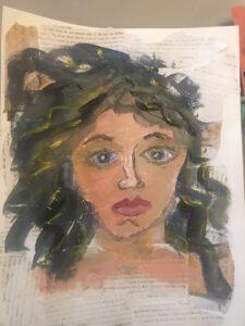 woman portrait mixed media