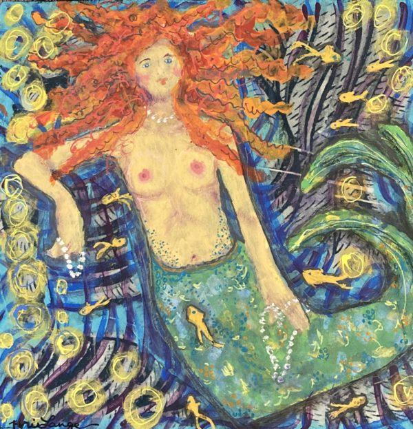 My Little Mermaid Mixed Media Painting
