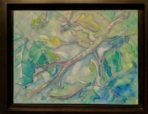 oak leaves and branches on canvas