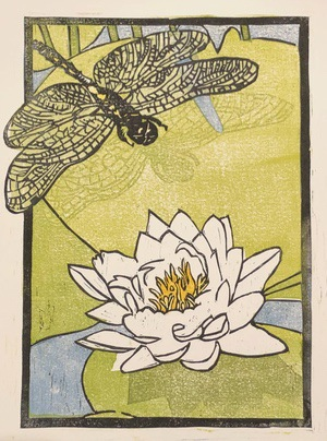 dragonfly and lily pad woodcut print