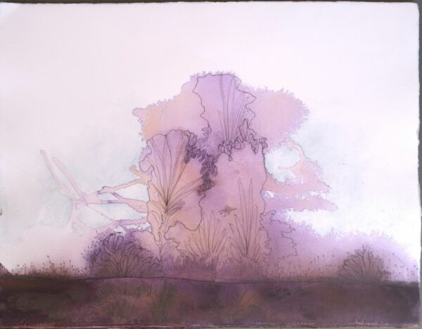 abstract acrylic and ink landscape painting of purple trees