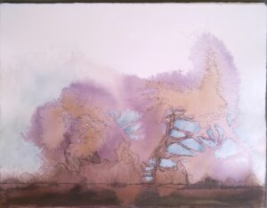 abstract acrylic and ink painting of purple forest