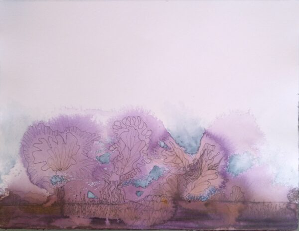 acrylic and ink abstract landscape painting of purple trees