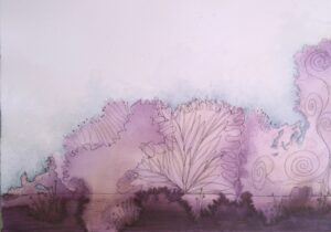 acrylic and ink abstract landscape painting on paper of purple trees
